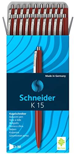 Schneider K 15 Druckkugelschreiber (dokumentenechte Mine - Strichstärke M, Schreibfarbe: rot) 20 Stück rot