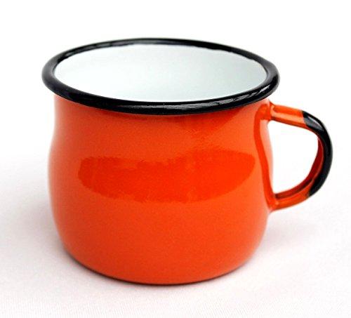 DanDiBo Emaille Tasse 501w/7 Orange 0,2 L Becher emailliert 7 cm Kaffeebecher Kaffeetasse Teetasse