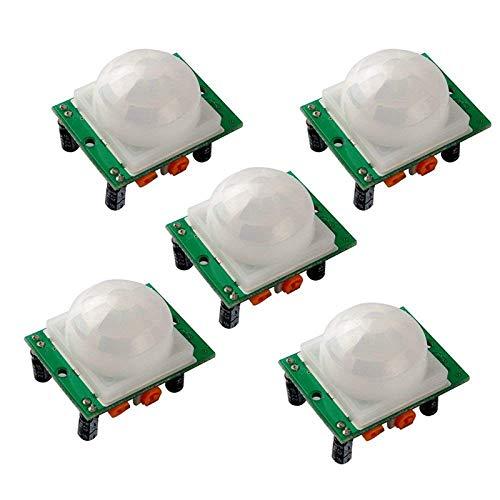 XZANTE 5 Piezas Hc-Sr501 Módulos Detector Sensor de Movimiento Humano Infrarrojo Pir Piroeléctrico Ajustar IR para Arduino Uno R3 Mega 2560 Nano