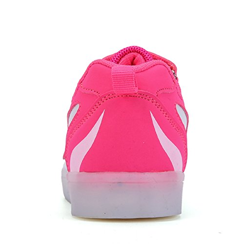 Frühling Sommer Unisex Kinder Jungen Mädchen Turnschuhe LED Flashing Schuhe 7 Farben USB Sneakers Rosa