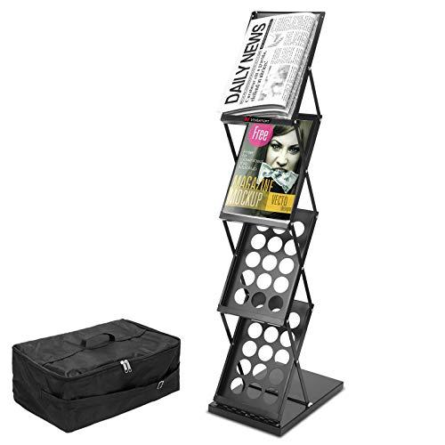 A4 Brochure Stand Exposition Pliable 124 x 27,5 cm x 41 .5cm Présentoir Show Magazine Livres 4 Etagères Exhibitionde Salons Professionnel avec étui Noir