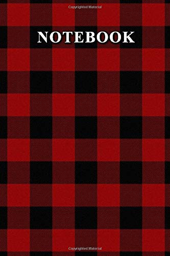 Notebook: Red and Black Buffalo Plaid Journal 6