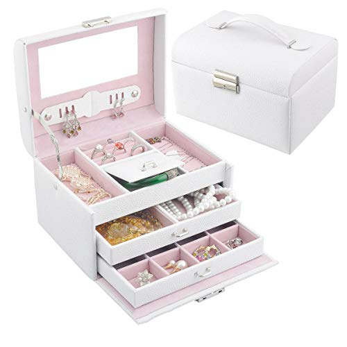 Schmuckkästchen, Kosmetikkoffer mit 3 Ebenen, PU Schmuckkasten mit Spiegel, Geschenk für Mädchen und Damen Alles aufräumen (Color : White) -