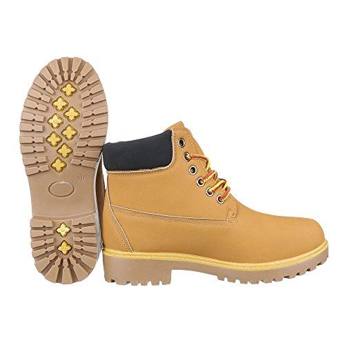 Schnürboots Damen Schuhe Combat Boots Blockabsatz Schnürer Schnürsenkel Ital-Design Stiefeletten Camel AM-186