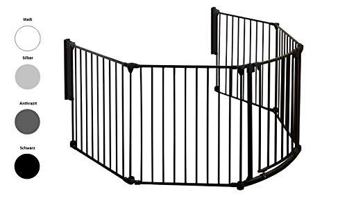 Original IMPAG® Kaminschutzgitter Rondo | 190-310 cm | Automatik-Tür | 90° Feststell-Funktion | Einhandbedienung | (5-tlg. Schwarz)