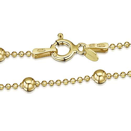 Amberta 925 Sterlingsilber Vergoldet 18K Damen-Halskette - Kugelkette mit größeren Kugel - 1.1 mm Breite - Verschiedene Längen: 40 45 50 55 60 cm (60cm)