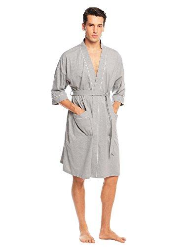 Preisvergleich Produktbild ADOME Herren Morgenmantel V-Ausschnitt mit Zwei Tasche kurzform Bademantel mit Gürtel Nachthemd Nachtwäsche