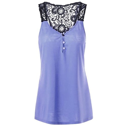 iHENGH Tank Top Damen Spitze Patchwork Knopf Bluse ärmelloses T-Shirt Crop Weste Plus Größe (Satin Rock Anzug Floral)