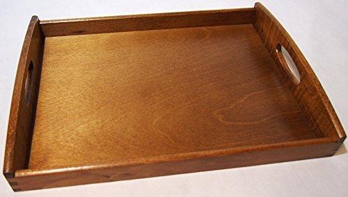 Plateau de service en bois clair Noyer vernis ou bois d'acajou rouge foncé 40 x 30 x 6 cm