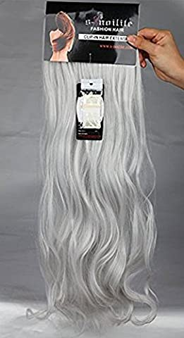 S-noilite Full Head Clip in Hair Extensions 24 Inches(61cm) Curly Silver Gray Hairpiece