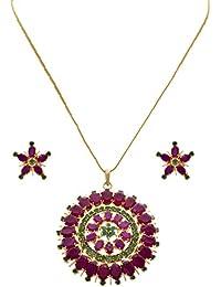 JFL - Traditional Ethnic One Gram Gold Plated Stone Designer Pendant Set With Earring For Women & Girls.