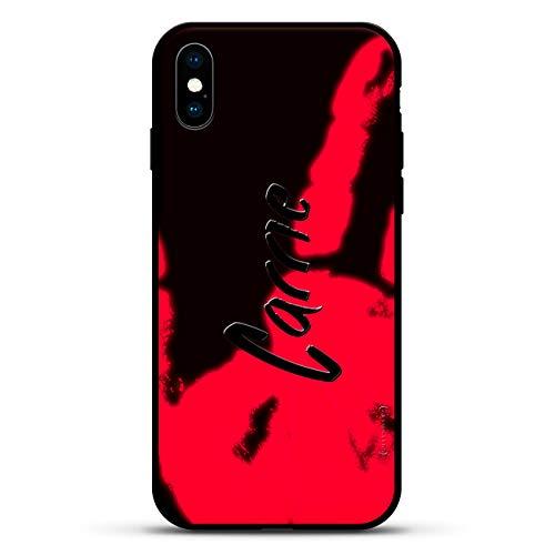 Name: Carrie, handgeschriebener Stil, Luxendary Magma Serie: Farbwechsel-Matte mit 3D-Druck und gehärtetem Glas für iPhone XS/X, Anthrazit