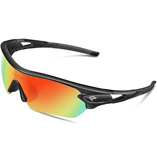 Torege Sport-Sonnenbrille polarisierte Sonnenbrille für Mann/Frau, Zum Radfahren, Laufen, Angeln, Golfen, TR002, Black&Red ...