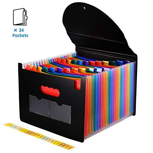 Trieur Document A4 Classeur Accordéon 24 Compartiments Organiseur Bureau Plastique Extensible avec Couvercle (Arc-en-Ciel)