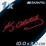 Titre: Mustafa Kemal atatürk Signature 10 x 3 cm Autocollant voiture Stickers (Rouge)