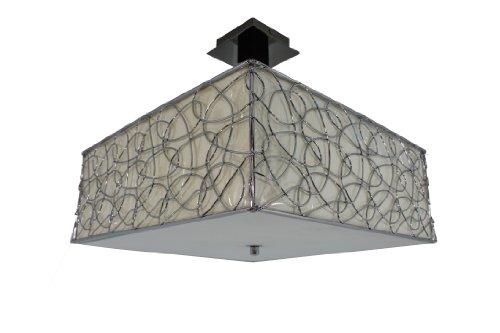§ blanco candelabro Lámpara de techo, diseño cuadrado, color caoba, tulipa de color crema y cromado Marco, panel de verre. 4 x E27