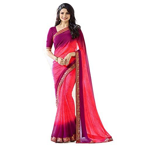 Pramukh Saris Women's Georgette Saree With Blouse Piece (A15 Bandhani, Pink,Purple, Free...