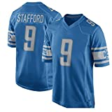 Majestic Athletic NFL Football Jersey Detroit Lions 9# Stafford T-Shirt Bequem und Atmungsaktiv Trikot -