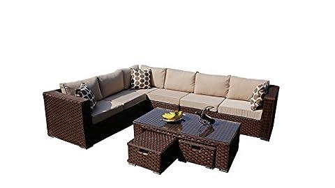 yakoe 501262017Papaver 8-Sitzer Rattan Gartenmöbel Ecksofa Lounge Set–Braun