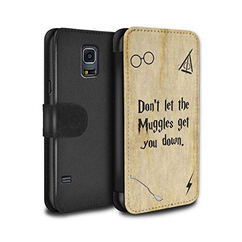Stuff4 Coque/Etui/Housse Cuir PU Case/Cover pour Samsung Galaxy S5 Mini/Muggle Design/École de Magie Film Citations Collection