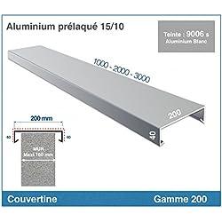 COUVERTINE/COUVRE-MUR - GAMME 200 -POUR MURET, ACROTERE OU TOIT TERRASSE (longueur 1000 mm, RAL 9006 PIEDRA BLANC)
