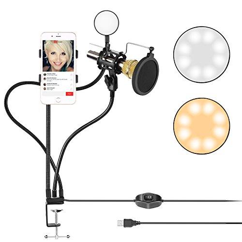 Neewer Abrazadera Transmisión en Vivo USB LED Selfie Anillo de Luz con Soporte para Teléfono Móvil y Micrófono para Youtube Video, Modo de 2 Luces, para iPhone, Samsung y más