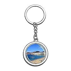 Hqiyaols Keychain Spanien Strand von Las Canteras Las Palmas Kristall Drehen Rostfreier Stahl Schlüsselbund Reisen Stadt Andenken Schlüsselring
