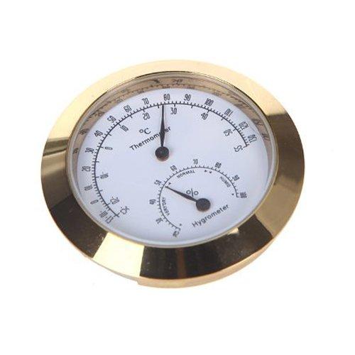 Thermometer / Hygrometer für Instrumentenkoffer (runde Form) goldfarben