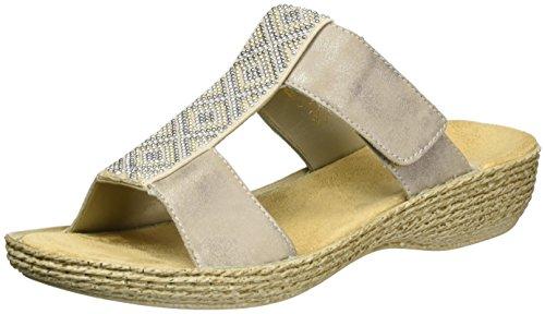 Rieker 65882, Mules Femme Gris (Altgold/beige / 91)