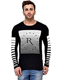 35430d77 GESPO Men's Printed Regular Fit Cotton Round Neck Long Sleeves T Shirt in