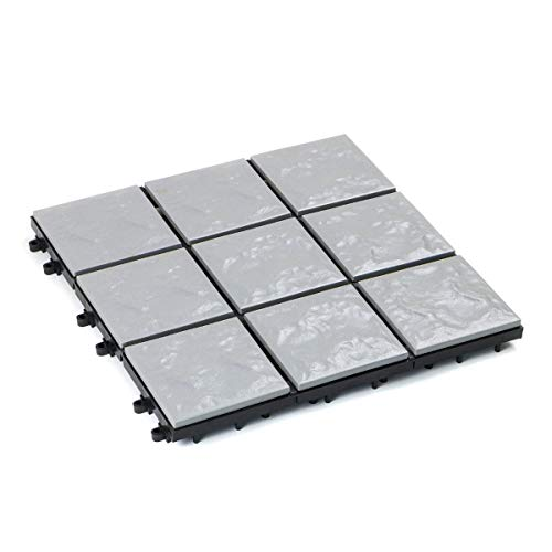 Mattonella 30x30 Ceramica Grigio Pietra Modulare Pavimentazione assemblabile pavimento