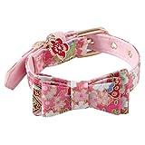 VNEIRW Blumen Katzenhalsband mit Fliege, Hundehalsband, Hundeleine,Haustierkragen (Pink)