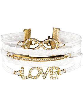 Infinity Armband Liebe Strasssteine Karma unendliche Golden glänzend