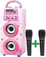 DYNASONIC (3a generazione) - Altoparlante Bluetooth portatile per karaoke con microfoni inclusi | Lettore USB