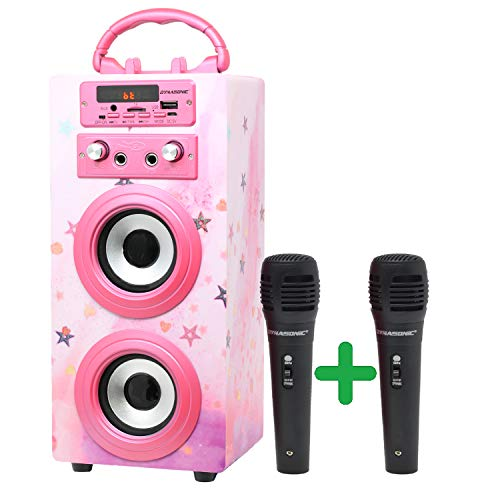 Oferta de DYNASONIC (3º Generación)- Altavoz Bluetooth Portatil Karaoke con Micrófonos Incluidos | Lector USB y SD, Radio FM Modelo 025 (Rosa Brillante)