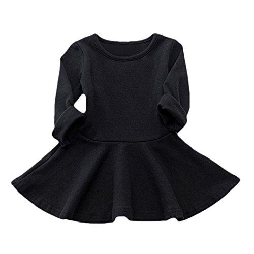 Babykleidung Hirolan Neugeborene Kleidung Mädchen Süßigkeiten Farbe Lange Hülse Solide Prinzessin Beiläufig Kleinkind Kinder Kleid (90cm, (Kleinkind Schwarze Kleid)