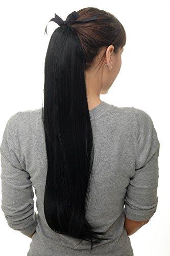 WIG ME UP ® - Postiche natte queue de cheval lisse noir foncé, peigne et bandeau 65 cm D13001-1