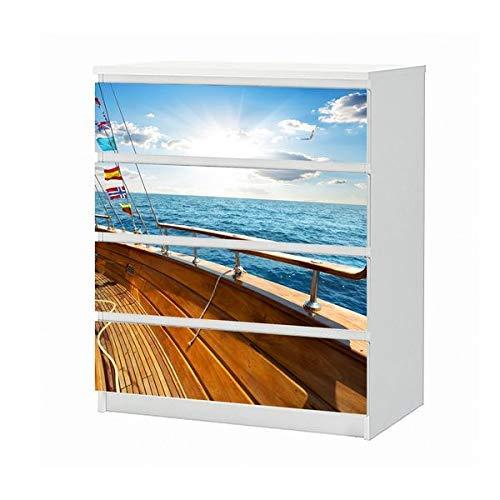 Set Möbelaufkleber für Ikea Kommode MALM 4 Fächer/Schubladen Yacht Urlaub Deck segeln Meer Ozean Aufkleber Möbelfolie sticker (Ohne Möbel) Folie 25B1038