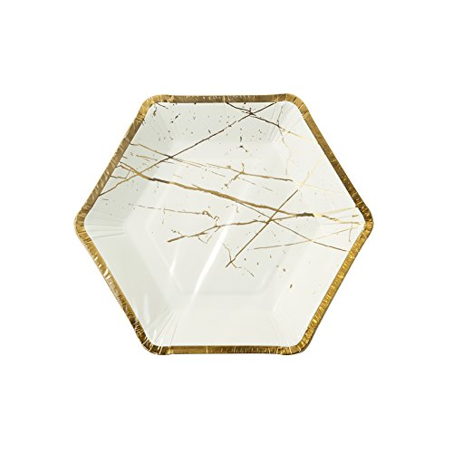 talking-tables-modern-metallics-hexagonal-gold-trim-marble-effect-paper-plates-for-a-birthday-or-tea