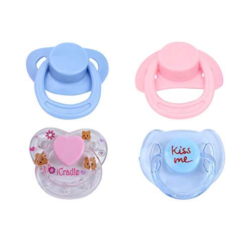 Dummy Kostüm Mädchen - VJGOAL 4PC 2019 New Dummy Schnuller Für Reborn Babypuppen Mit Internem Magnetischem Zubehör (Blau und Rosa, One Size)