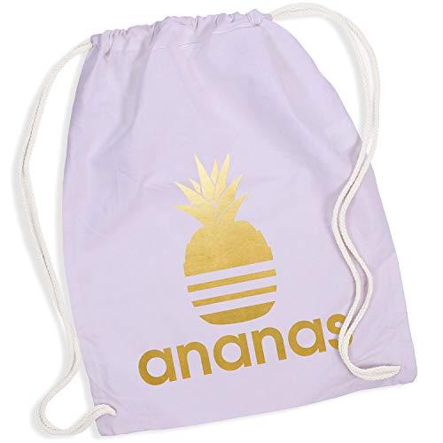 Shirt-Panda Turnbeutel mit Ananas Motiv Hipster Sport Jute Tasche Gym Bag Spruch Baumwolle Lavendel (Druck Gold) -