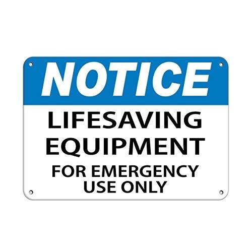 ymot101 - Segnale di Avvertimento in Alluminio con Scritta in Inglese 'Notice Lifesaving Equipment for Emergency Use Only', Divertente Targa da Parete, 8 x 12 cm