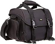 AmazonBasics - grote schoudertas voor spiegelreflexcamera en accessoires, zwart met oranje binnenkant