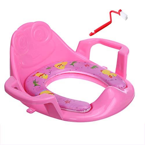 Siège de Toilette pour Enfants Toilettes Feminin Bébé Infant Enfant Enfant Mâle Coussin Couvre Cache-Pied Échelle 1-3 Ans 6 Porte-Bain (Couleur : Pink)