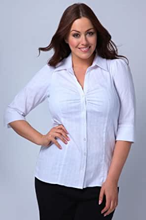 Yoursclothing Plus Size Womens Stripe Stretch Shirt With 3/4 Length Sleeves Size 22 White