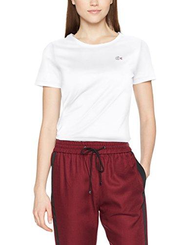 Lacoste Damen T-Shirt TF3080, Weiß (Blanc 001), 34(Herstellergröße: 36)