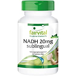 NADH 20mg sublingual - für 2 Monate - VEGAN - 60 Tabletten - stabilisiertes NADH