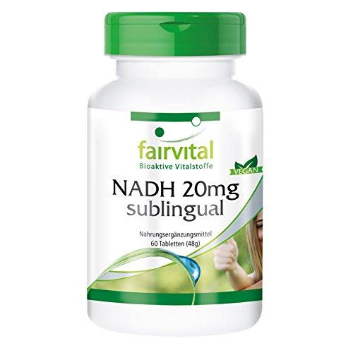 NADH 20mg sublingual, vegan, stabilisiert, ohne Magnesiumstearat, 60 NADH-Tabletten (Lebensmittel, 90 Lutschtabletten)