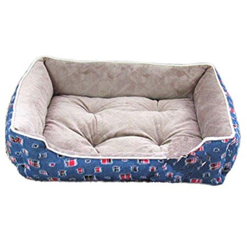 S-XL Größe Großes Betten für Hunde Winter Deluxe Welches Haustier Warmbett Katzen Kissen mit Fleece Futter (S: 45*35CM, Grey+Blue) (3t-fleece)