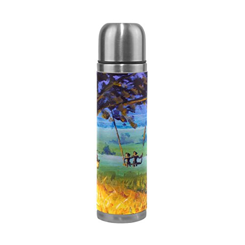 ISAOA Wasser Flasche Edelstahl, doppelwandige Vakuum Isolierte Thermos Cup auslaufsicher Reisen Tee Kaffee Becher Echt Leder Hülle hält Getränke Heiß und Kalt 17Oz £ ¨ Bäume Gras Swing £ ©